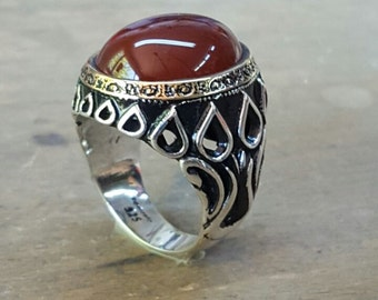 Silver Mens Ring Agate Stone