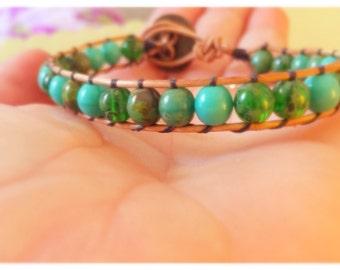 Clearance Green bead single wrap bracelet, leather wrap bracelet