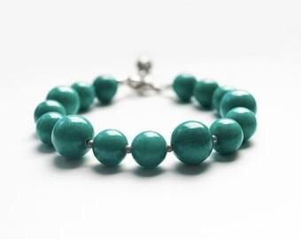 Beaded bracelet, green beads bracelet, Gemstone Bracelet.