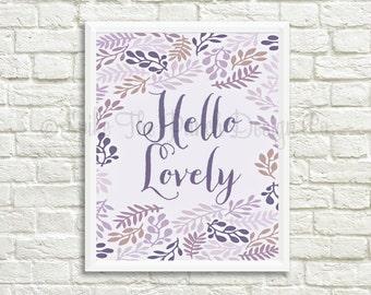 Hello Lovely Print // Purple Digital Print // Hello Lovely Printable // Whimsical Print // Hello Lovely Gallery Wall Art // INSTANT DOWNLOAD