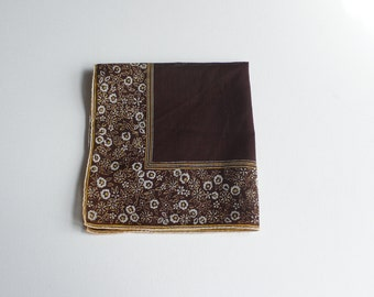 Vintage Chocolate Brown Floral Handkerchief