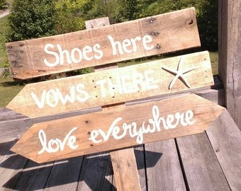Shoes Here Vows There Beach Wedding Pallet Sign With Starfish