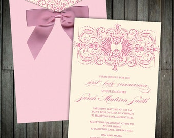 An Elegant Pink Pocket Communion Invitation With a Dusty Rose Bow- An ornate motif adorns this exquisite design