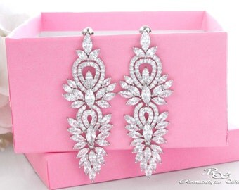 Statement wedding earrings vintage style rhinestone bridal earrings crystal chandelier earrings wedding jewelry bridal jewelry 1404