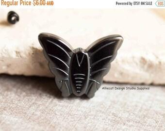 SALE 1 Hematite 25x20x4mm Butterfly Bead (F0064)
