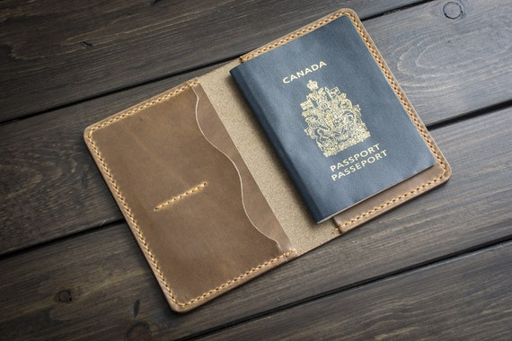 Leather Passport Wallet, Passport case, leather passport holder, passport keeper - Driftwood