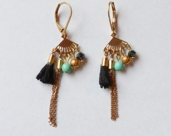 BO Little Riviera in Turquoise real (semi-precious stone) and black tassel