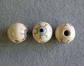 3 Pieces Large Creepy Eye Ball Beads, Ceramic, Halloween