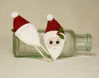 Christmas Santa Book Marker, Santa Gold Paper Clip, Wool Felt Christmas Decoration *Ready to ship