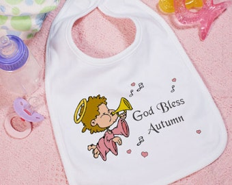 Personalized God Bless Baby Girl Bib