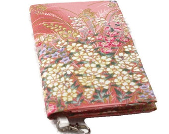 Floral Wallet, Peach Fabric, Key Fob, Phone Wallet, Bifold Purse, Ladies Wallet, Flower Purse, Phone Wristlet, Slimline Purse, Card Holder