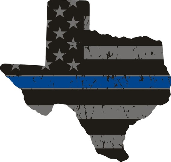 Texas thin blue line distress flag texas state decal sku for Texas thin blue line shirt