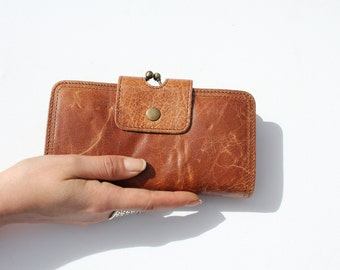Evanna Large Wallet, Tan and Floral Leather, Clip Wallet, Kissclip Purse