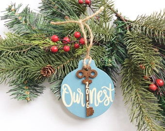 Our First Home Ornament, First House Ornament, Rustic Wood Ornament, Personalized, New Home, First Christmas, Key, Our Nest, Christmas