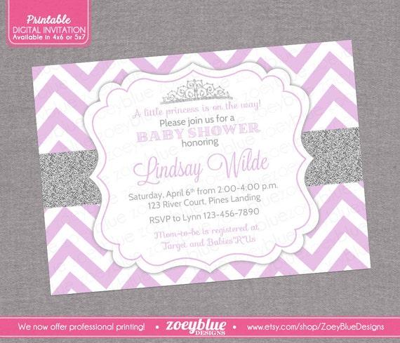 princess invitation girl baby shower invite printable digital file