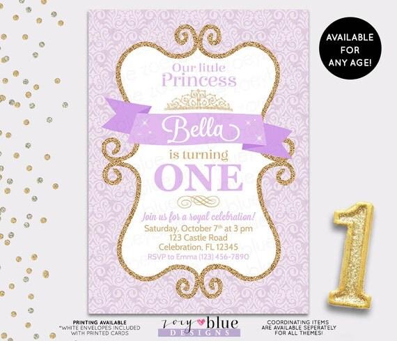 Princess Birthday Invitation Lilac Gold Damask Purple Gold - First birthday invitations girl purple
