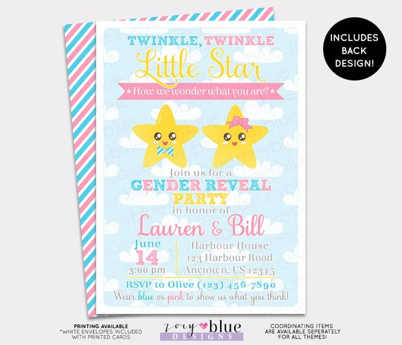 little star gender reveal invitation - twin baby shower girl or, Baby shower invitations