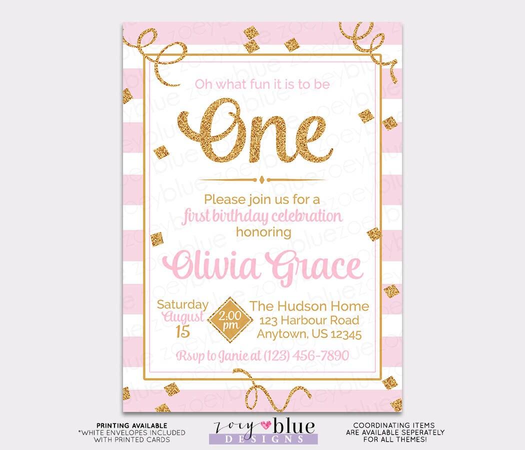 Pink Gold Girl First Birthday Invitation Gold Glitter 1st birthday