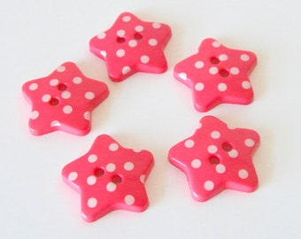 10 x 18mm Coral Pink Polka Dot Star Buttons