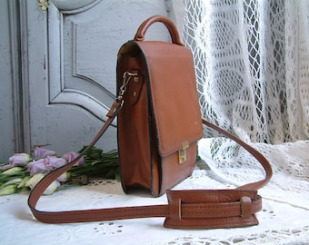 French vintage genuine leather brown leather satchel. Long strap. Unisex leather cross body satchel. Man bag.  Ipad. Tablet. Cross body bag