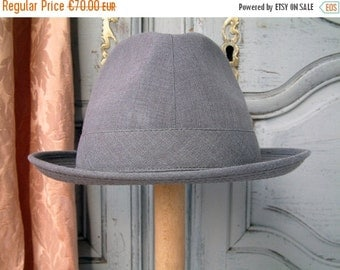 SALE French vintage grey men's lightweight summer fedora. Men's boho chic. Men's Parisian chic. Dove grey mens fedora. Breathable summer hat