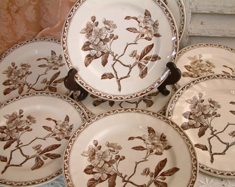 Set of 8 Antique french ironstone brown transferware dessert plates Art Nouveau. Aesthetic movement. French transferware.
