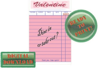 Diner Check Valentine Card Dine In? Take Out? Pink Party Tag Scrapbook File