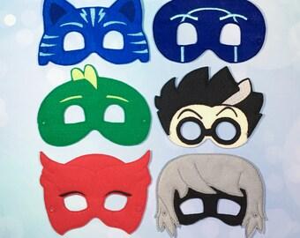 Felt Masks - Pretend Play - Dress Up - Costumes - Luna Girl - Owl Girl - CatBoy - Ninja - Scientist - PJ Masks