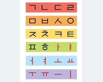 Korean Alphabet, Hangul Wall Art Printed Poster