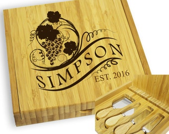 Personalized Cheese Board Set, Cheese Knife, Engraved Cheese Tool Set, Housewarming Gift, Wine Lover Gift, Wine and Cheese, Gift for Mom