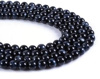 "8MM02  8mm AA grade Blue tiger eye round loose gemstone beads 15.5"""