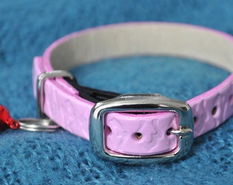 Ella Selection Exotic Pink Leather Cat Collar