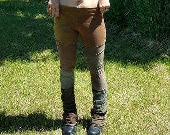 Hand dyed bamboo and bamboo fleece leggings