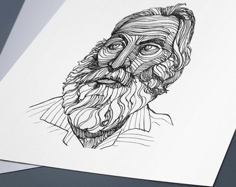 Walt Whitman Line Drawing Portrait Print