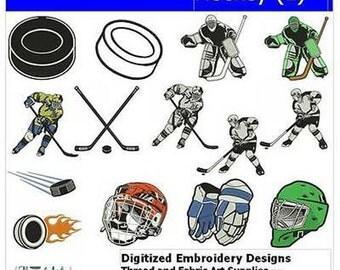 Embroidery Design CD - Hockey(1) - 14 Designs - 9 Formats - Threadart