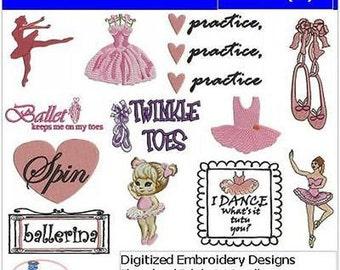 Embroidery Design CD - Ballet(1) - 12 Designs - 9 Formats - Threadart