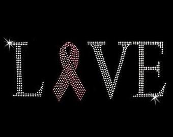 Rhinestone Transfer - Hot Fix Motif - Love Pink Ribbon