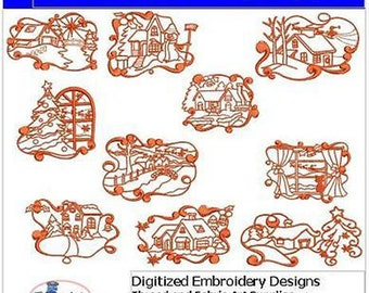 Embroidery Design CD - Christmas Landscapes - 10 Designs - 9 Formats - Threadart