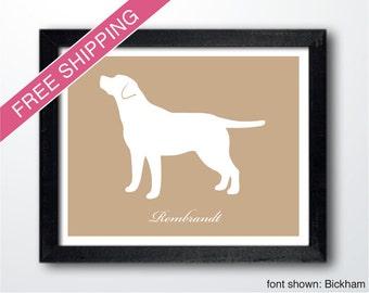 Personalized Labrador Retriever Silhouette Print with Custom Name (version 3)
