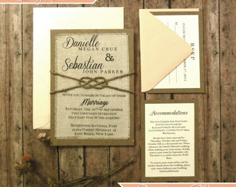 Rustic Wedding Invitation Sets Suite , Blush Wedding Boho Wedding Script Calligraphy Invitation Fabric Twine Knot Wedding Invitation
