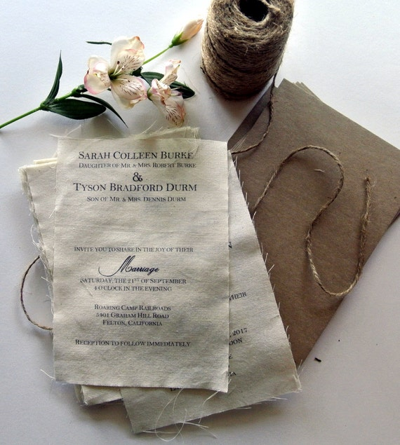 Wedding Invitation Diy Kits: DIY Rustic Wedding Invitation Kit Burlap Fabric Rustic