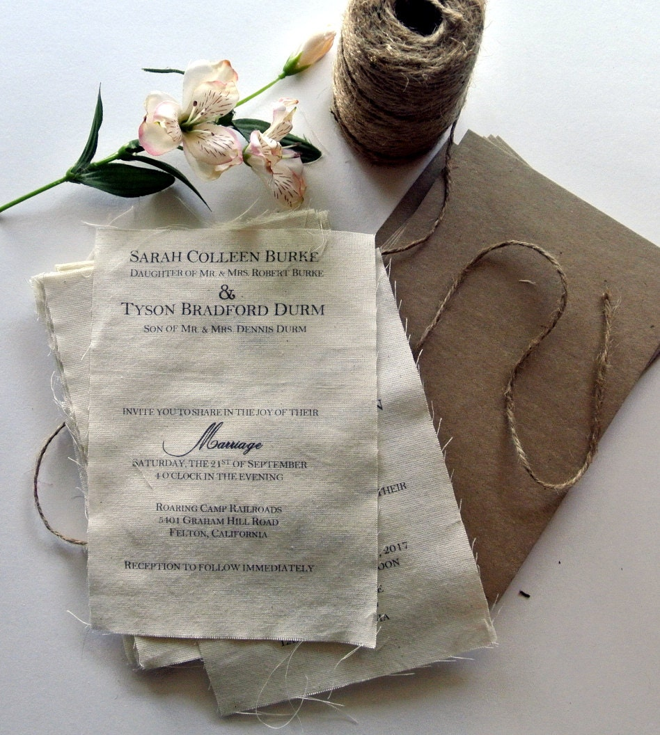 Diy Wedding Invitations Kits: DIY Rustic Wedding Invitation Kit Burlap Fabric Rustic