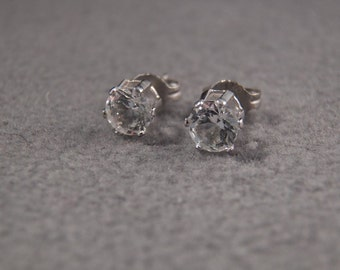 Vintage Silver Tone Prong Set Post Stud Style Cubic Zirconia Earrings~~ **RL