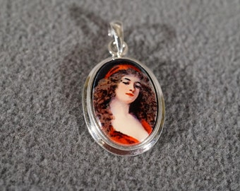 Vintage Sterling Silver Oval Painted Porcelain Detailed Female Figural Pendant Charm Jewelry  **RL