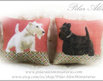 Pillow for dollhouse, 12th scale pillows. One Inch. Scottish terrier  pillow.