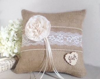 Burlap ring bearer  pillow, burlap and lace rustic wedding ring pillow, personalized ring bearer pillow
