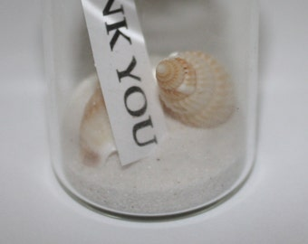 Mini Glass Bottles Cork Beach Wedding Thank You Note, Sand & Shells Included Favours