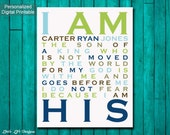 I Am His. Son of a King. Christian Wall Art. Boy Nursery Wall Art. Children's Room Decor. Baby Shower Gift. Personalized Room Decor. Baptism