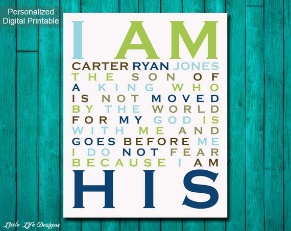 Christian Wall Decor For Nursery : I am his son of a king christian wall art boy nursery