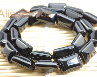 Black Onyx, smooth rectangle, beads,10x14mm,25pcs